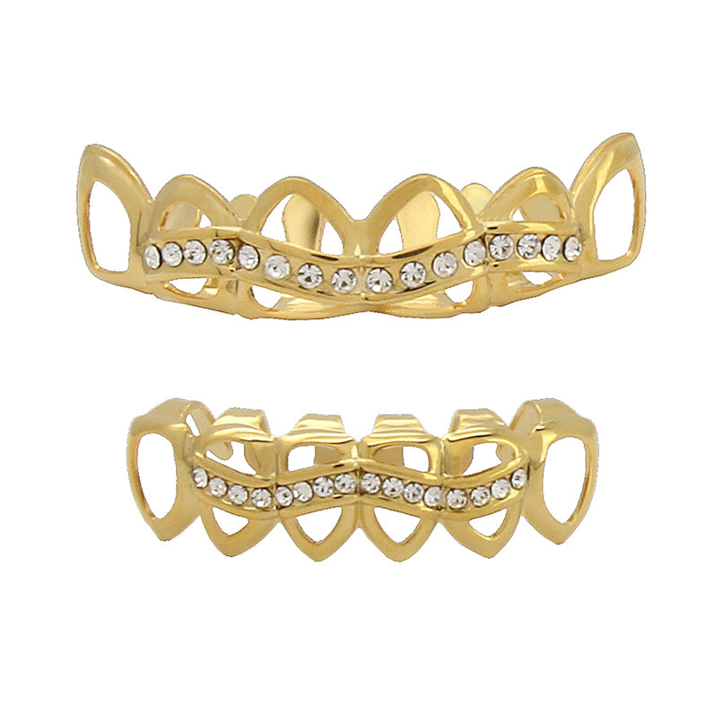 GRILLZ SET GOLD HOLLOW CZ