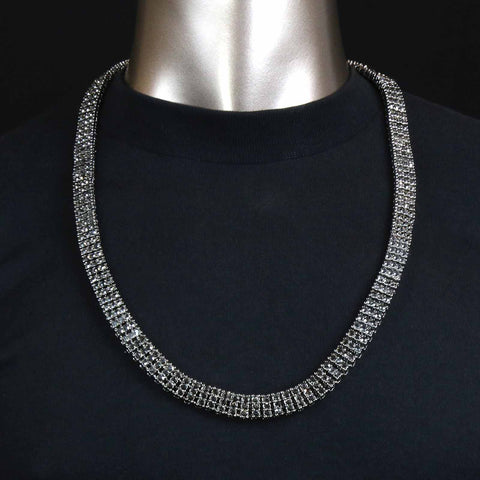 3 ROW ICED-OUT TENNIS HEMATITE CHAIN 30""