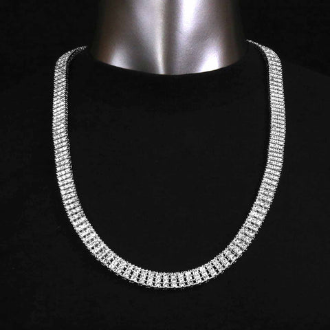 3 ROW ICED-OUT TENNIS SILVER/CLEAR CHAIN 30""