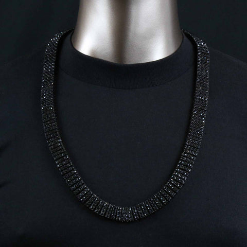 4 ROW ICED-OUT TENNIS BLACK CHAIN 30""