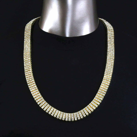 4 ROW ICED-OUT TENNIS HEMATITE CHAIN 30""