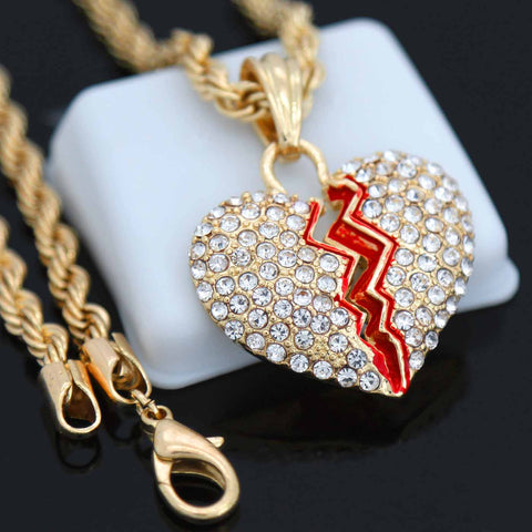 BROKEN HEART PENDANT WITH GOLD ROPE CHAIN