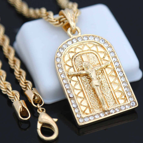Jesus Temple Pendant with Gold Rope Chain