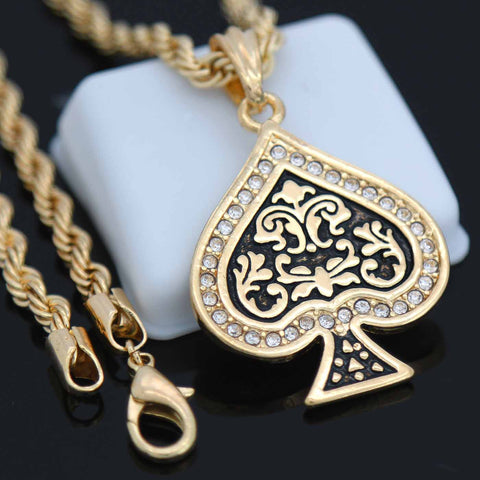 Poker Card Pendant with Gold Rope Chain