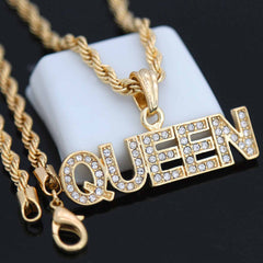 QUEEN Pendant with Gold Rope Chain