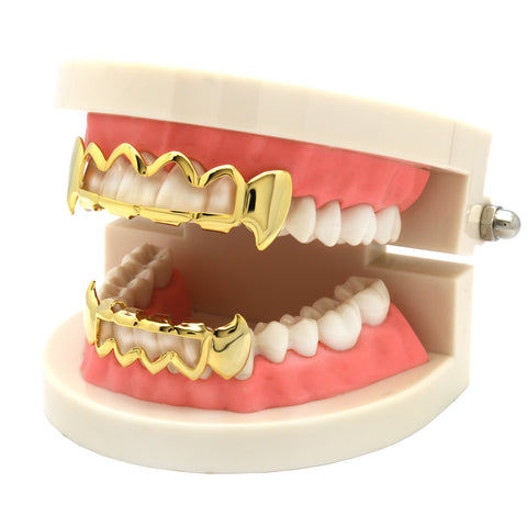 GRILLZ SET GOLD FANG WAVE HOLLOW