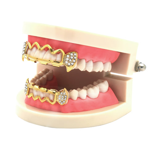 GRILLZ SET GOLD WAVE HOLLOW CZ FANG