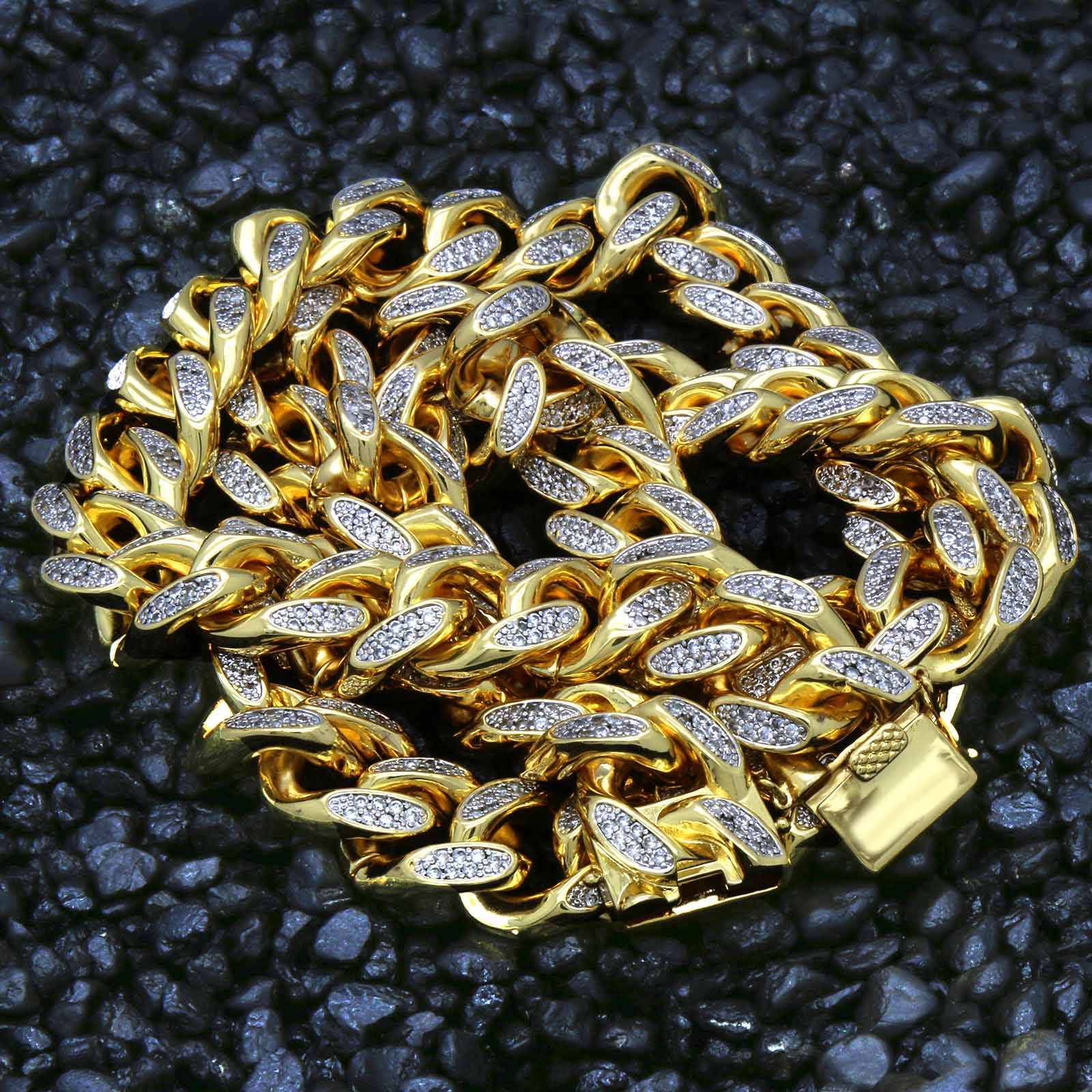 Full Cz Clasp Miami Cuban 18 mm 20""