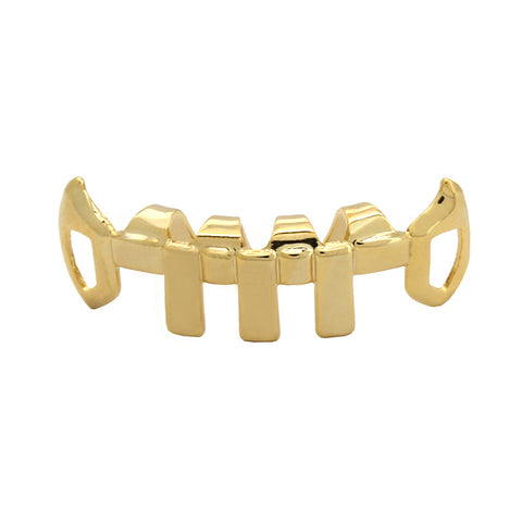 GOLD BOTTOM GRILLZ VERTICAL BAR FANG