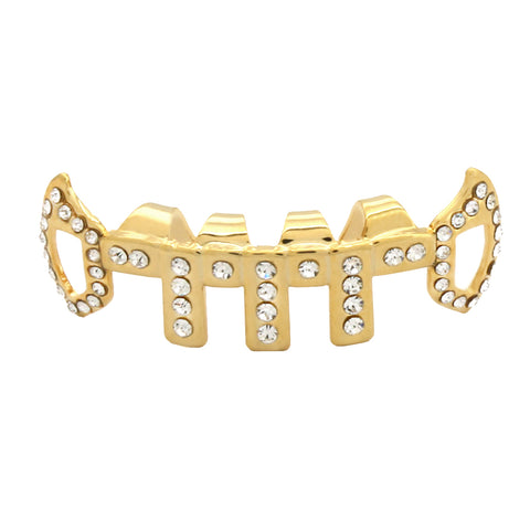 GOLD BOTTOM GRILLZ VERTICAL BARS ICE OUT FANG