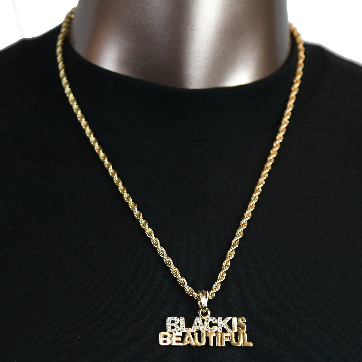 BLACK BEAUTIFUL PENDANT WITH GOLD ROPE