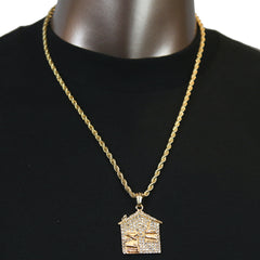 Trap House Pendant with Gold Rope Chain