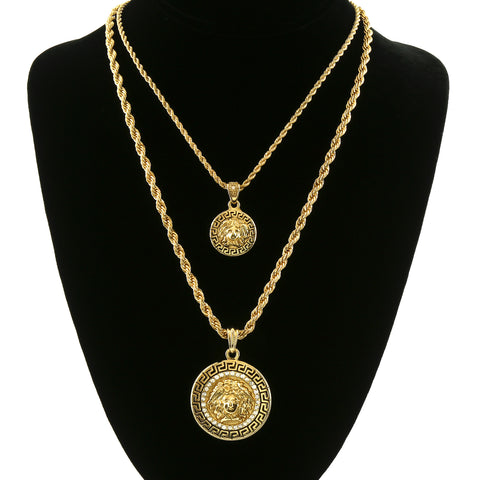 MEDUSA DOUBLE  PENDANT WITH GOLD ROPE CHAIN