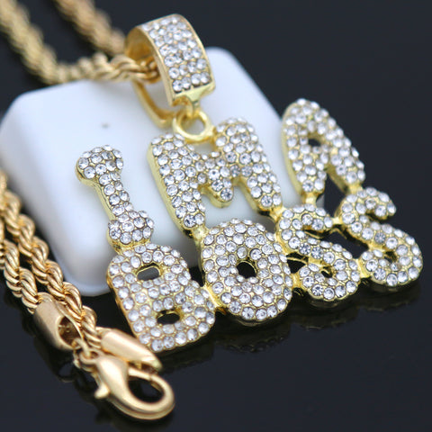 I ma Boss Pendant with Gold Rope Chain