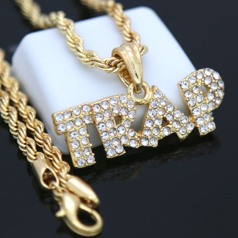 TRAP Word Pendant with Gold Rope Chain