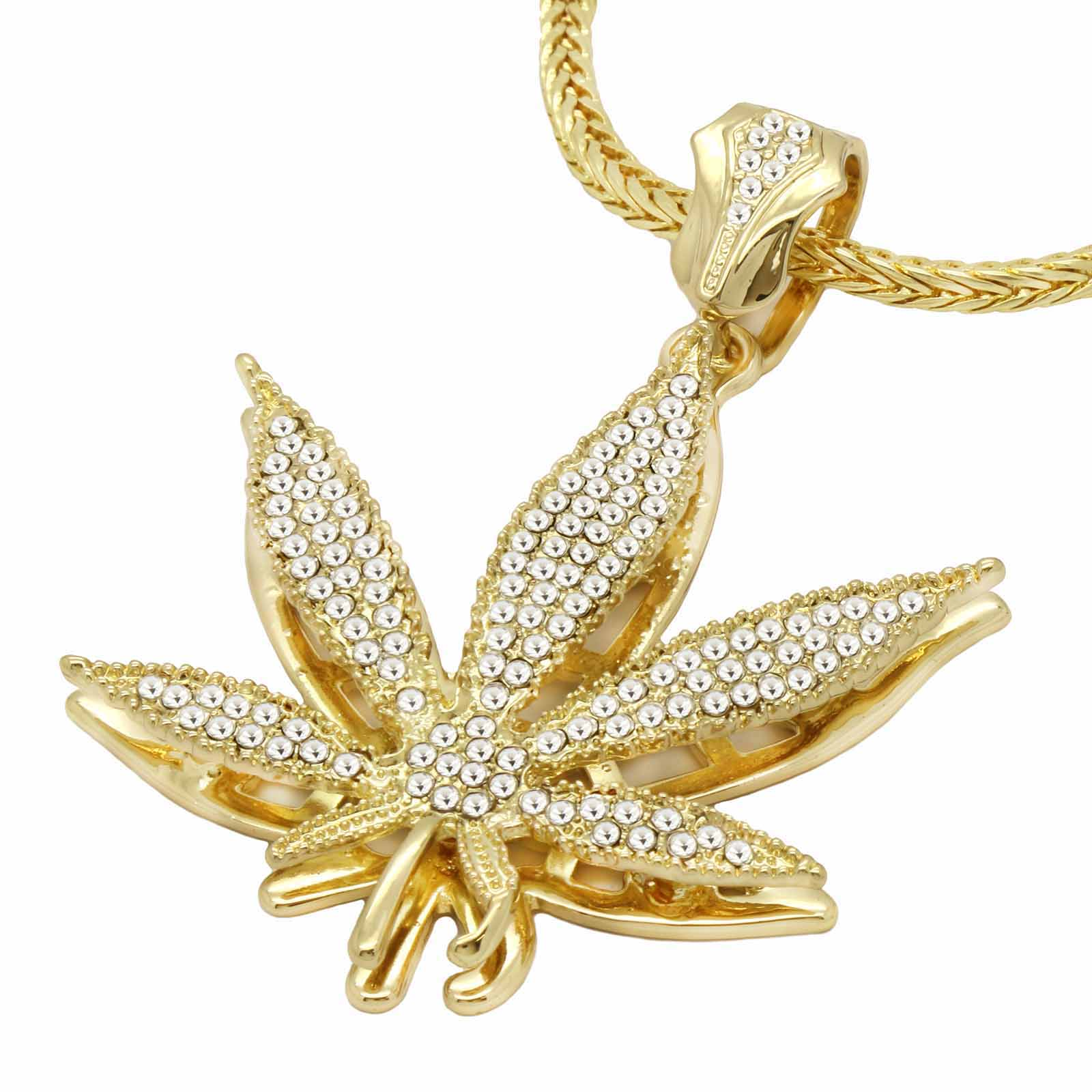 Gold Clear Marijuana NECKLACE