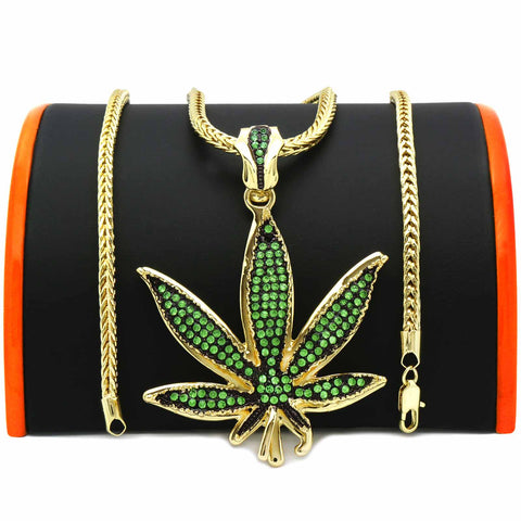 Gold Green Marijuana NECKLACE