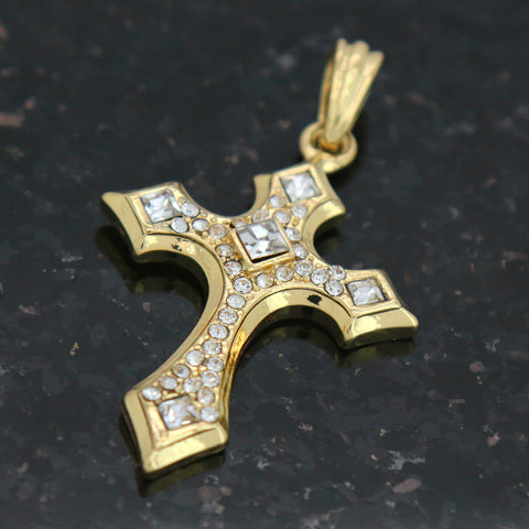 SHARP ICED CROSS  Pendant with Gold Rope Chain