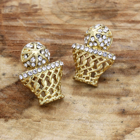 Cz BasketBall GOLD FILLED EARRINGS