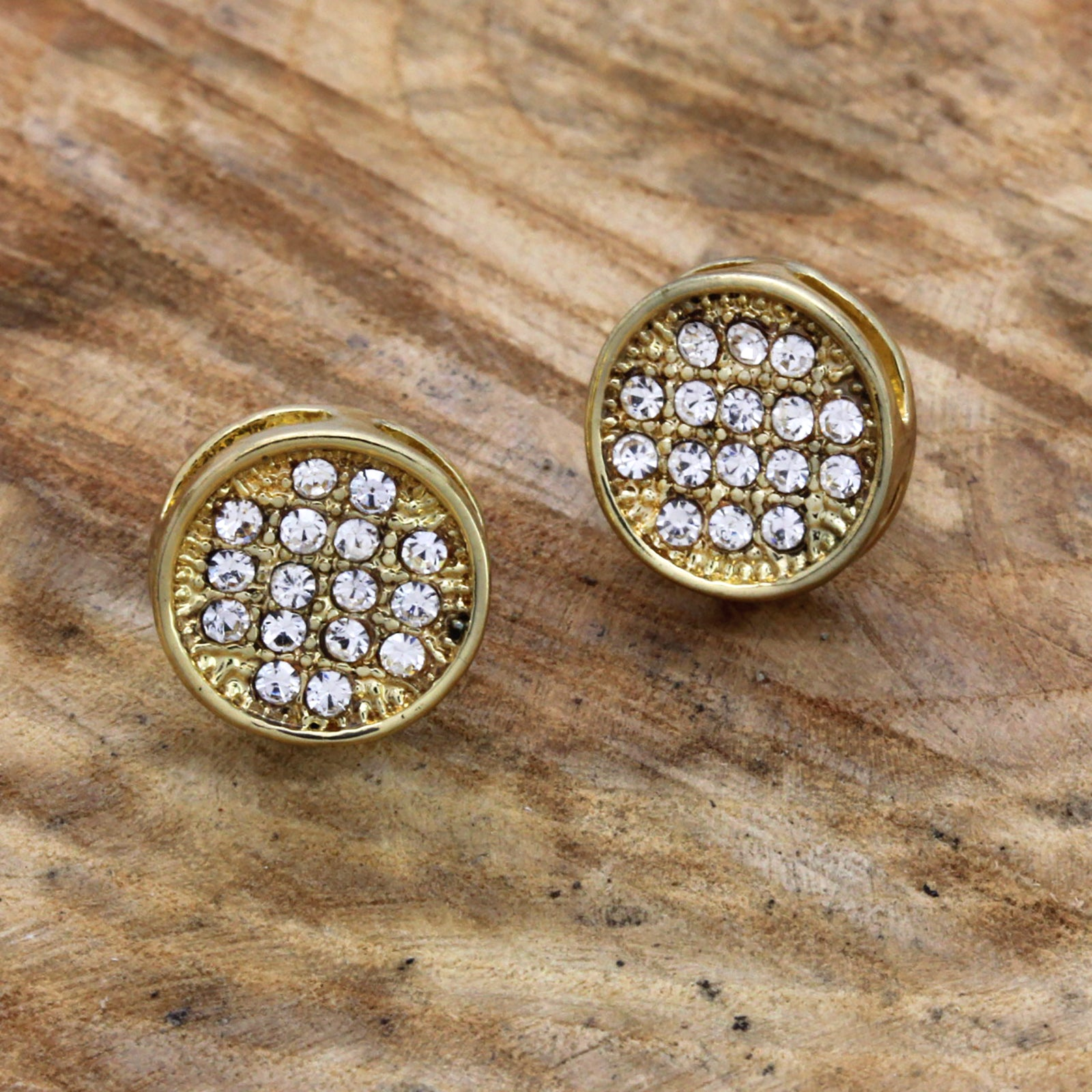 Cz Round Stud GOLD FILLED EARRINGS