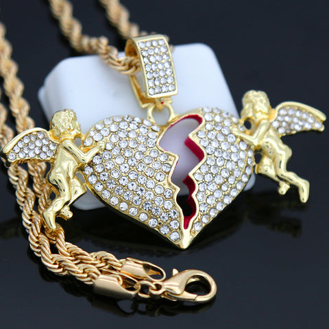 BROKEN HEART ANGEL Pendant with Gold Rope Chain