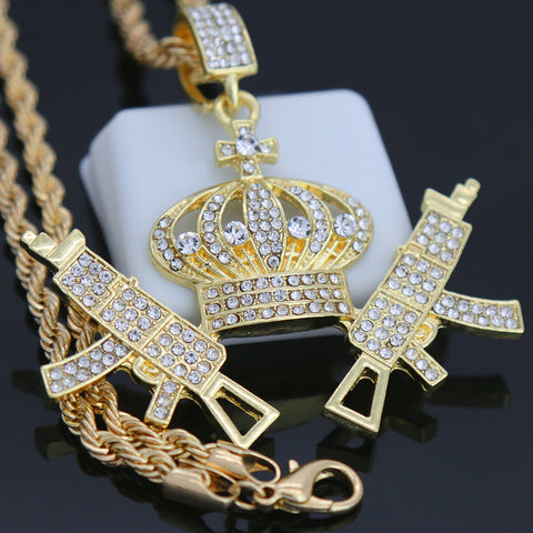 CROWN SMG GUN Pendant with Gold Rope Chain