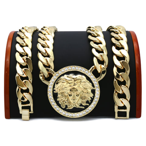 MEDUSA NECKLACE GOLD BLACK