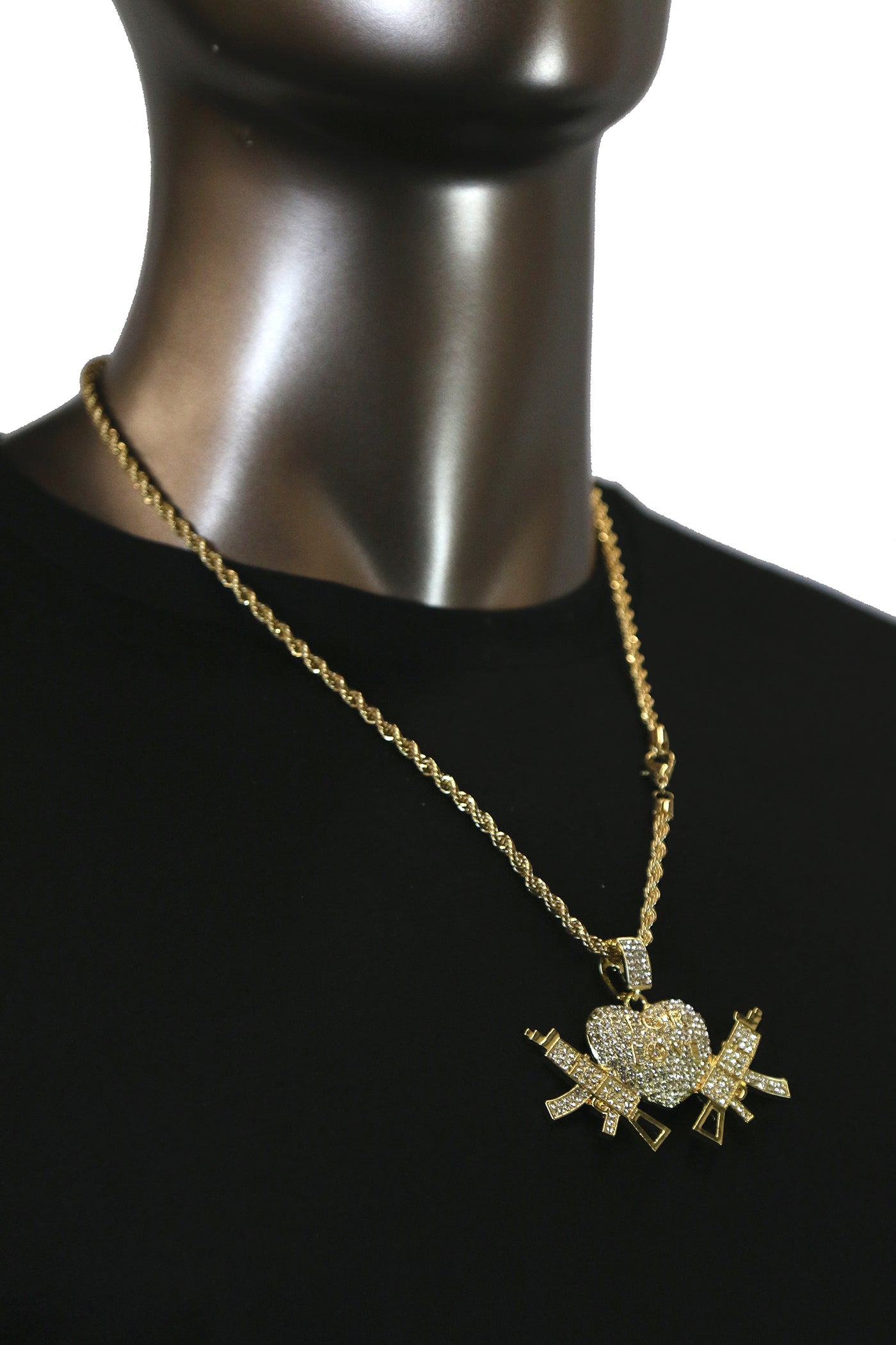 ALL FOR LOVE SMG Pendant with Gold Rope Chain