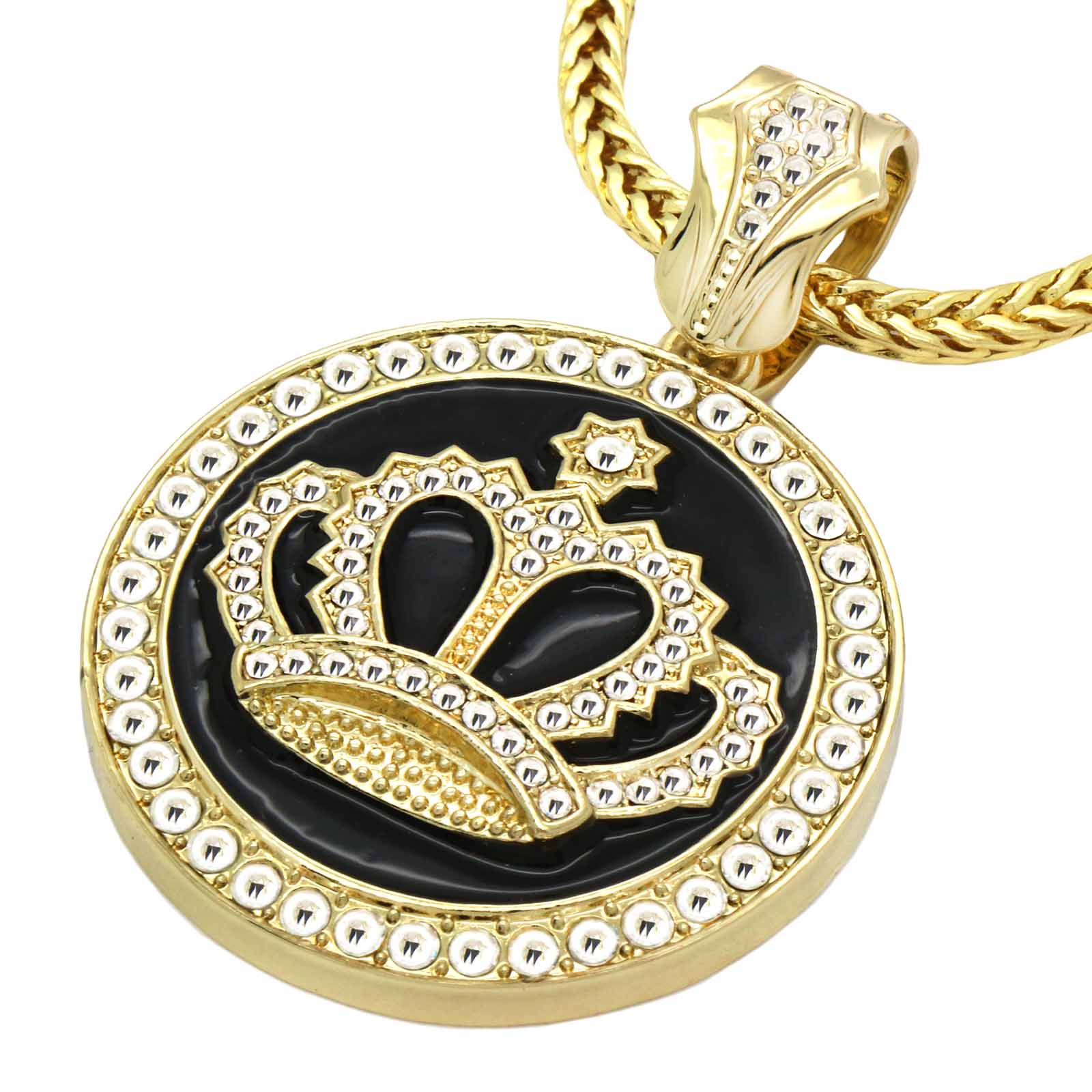 Gold Black CROWN NECKLACE