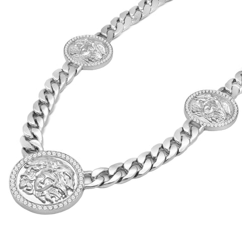 MEDUSA NECKLACE RHODIUM 3 MEDALLION