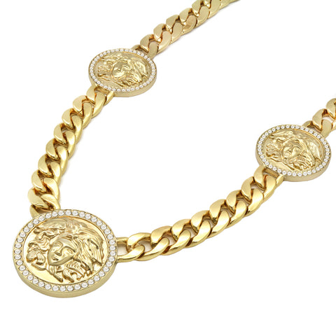 MEDUSA NECKLACE GOLD 3 MEDALLION