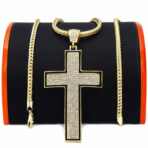 Gold Black Cross NECKLACE
