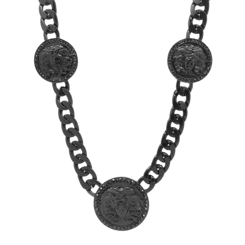 MEDUSA NECKLACE BLACK 3 MEDALLION