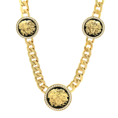 MEDUSA NECKLACE GOLD BLACK 3 MEDALLION