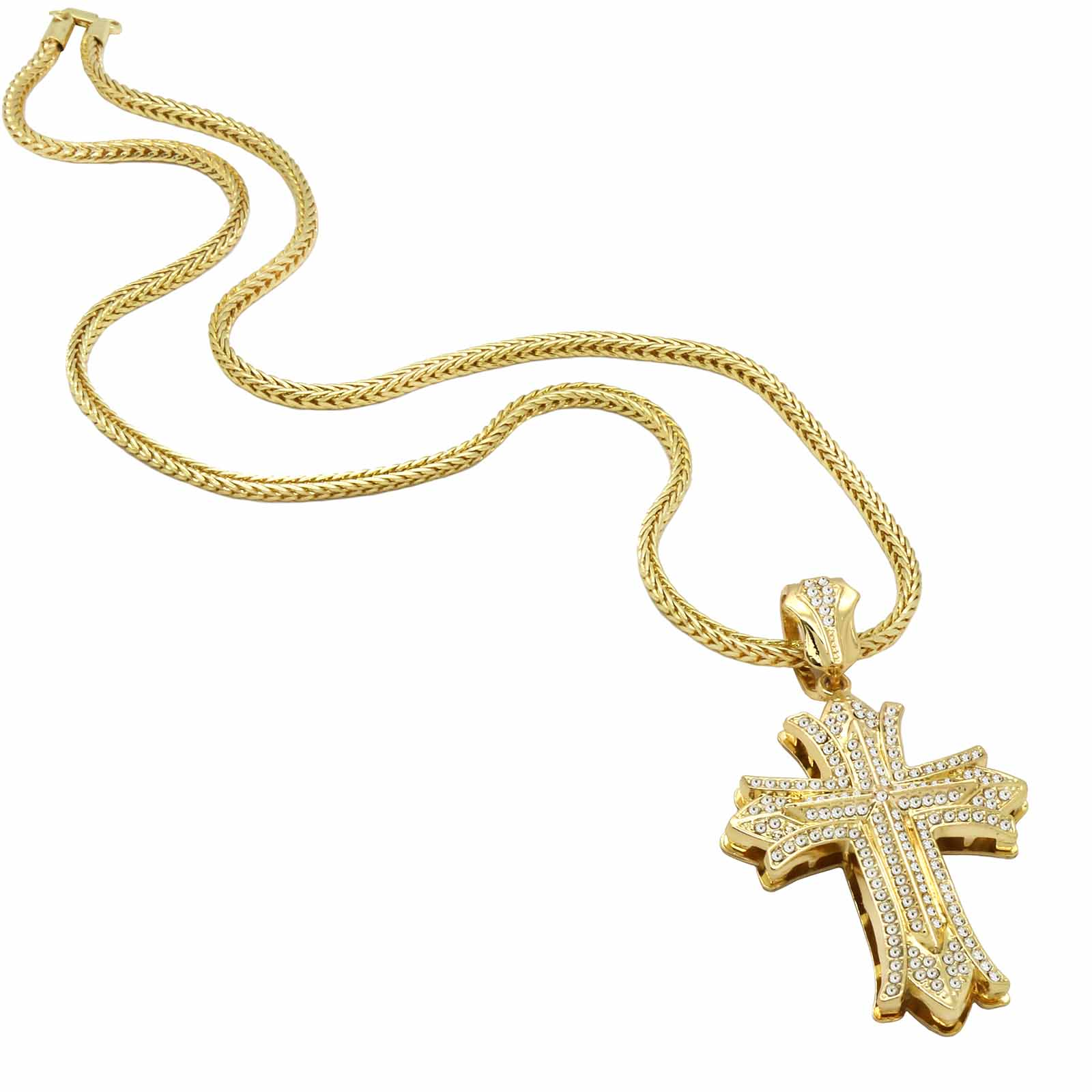 Gold Flared End Cross NECKLACE