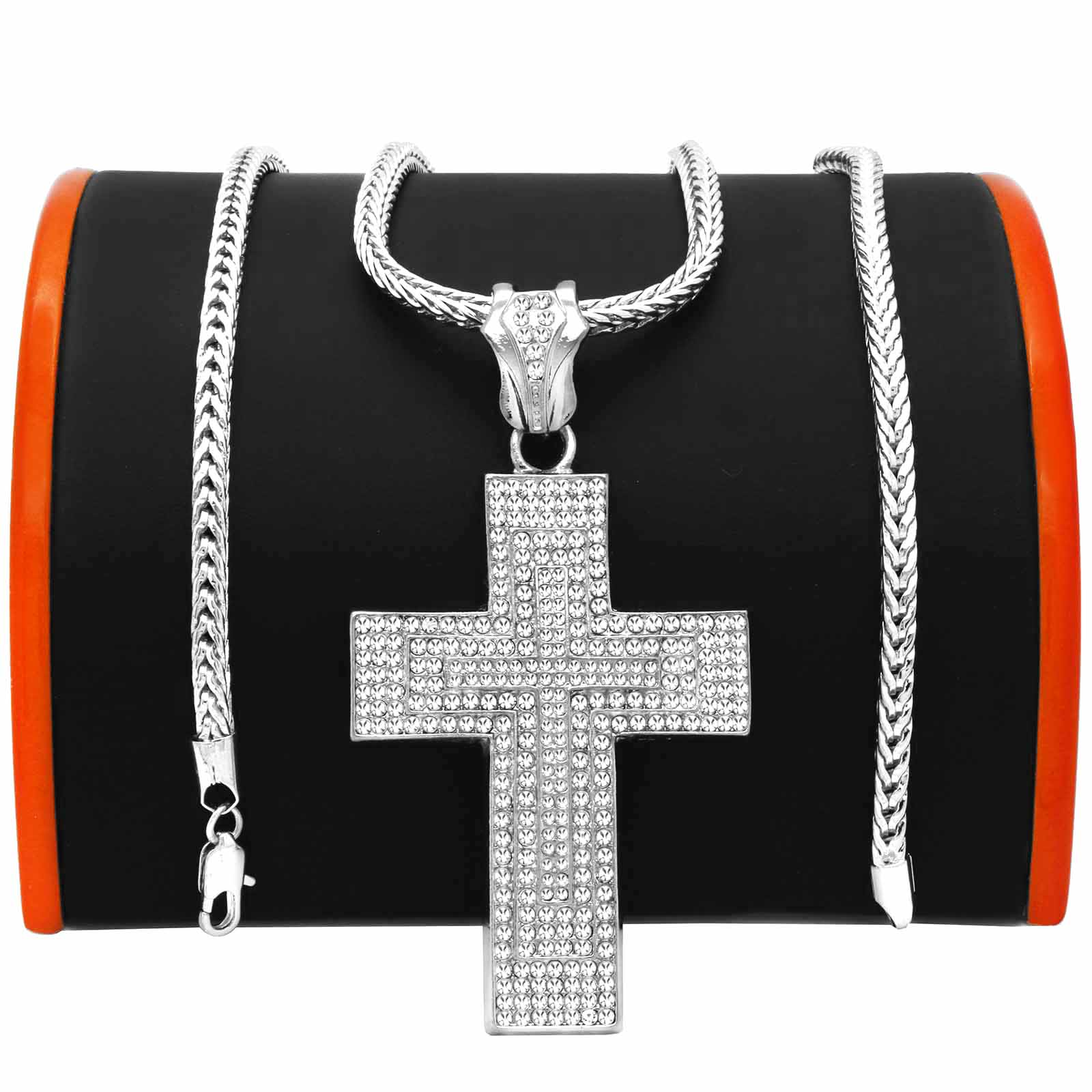 Silver Jesus Double Edge Cross NECKLACE