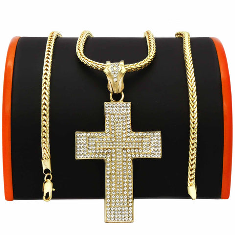 Gold Double Layer Cross NECKLACE