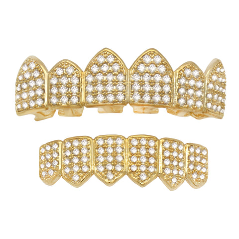 GRILLZ SET GOLD FULL STONE