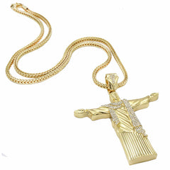 Gold RESURRECTION CROSS NECKLACE CZ