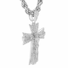 Silver Jesus Hang Cross NECKLACE