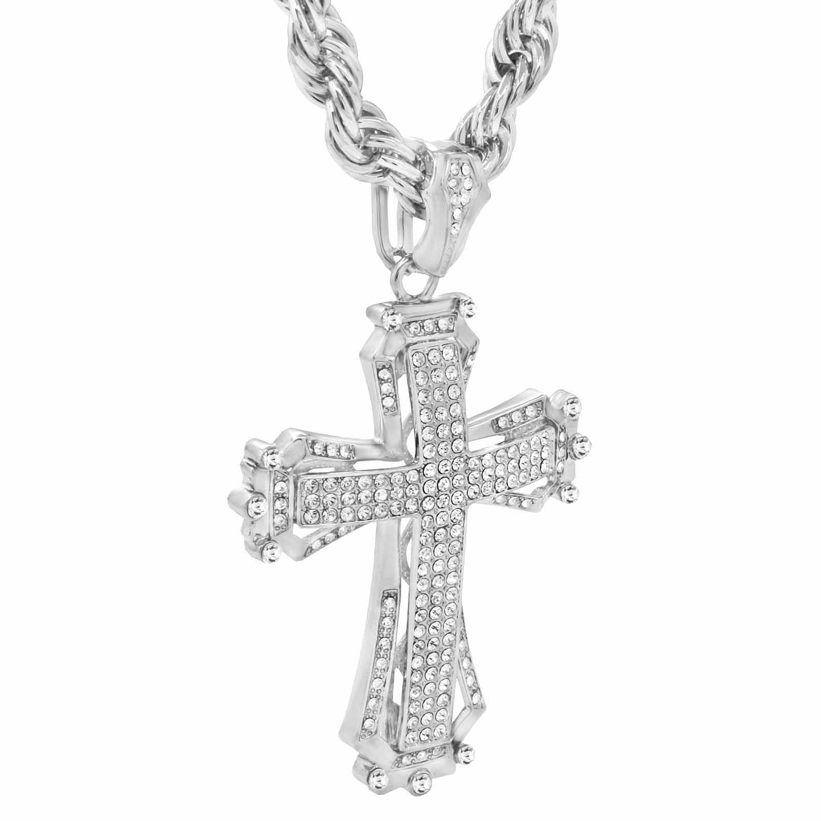 Silver Hollow Cross NECKLACE