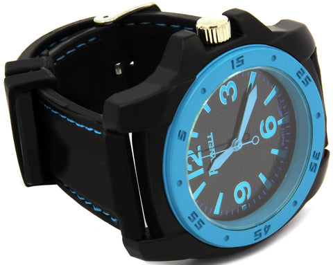 Black Blue Silicone Band Watch