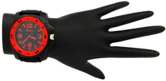 Black Red Silicone Band Watch