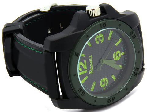 Black Green Silicone Band Watch