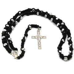 8MM Black Crystal Fabric Rosary With Cross Pendant