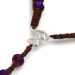 8MM Purple Crystal Fabric Rosary With Cross Pendant