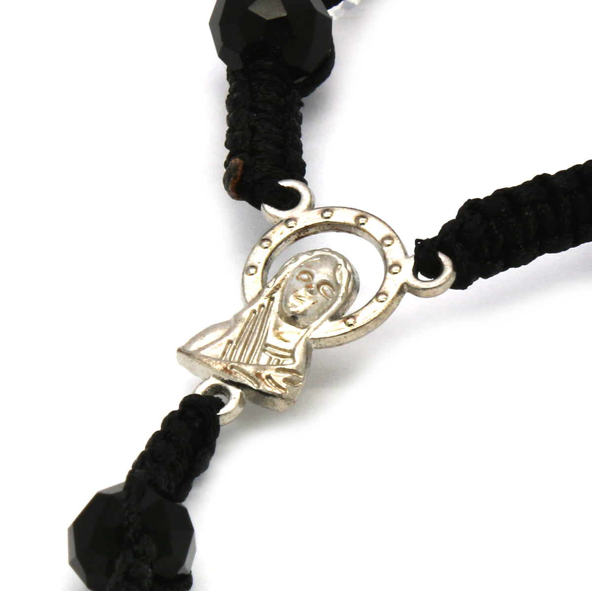 8MM Black/Clear Crystal Fabric Rosary With Cross Pendant