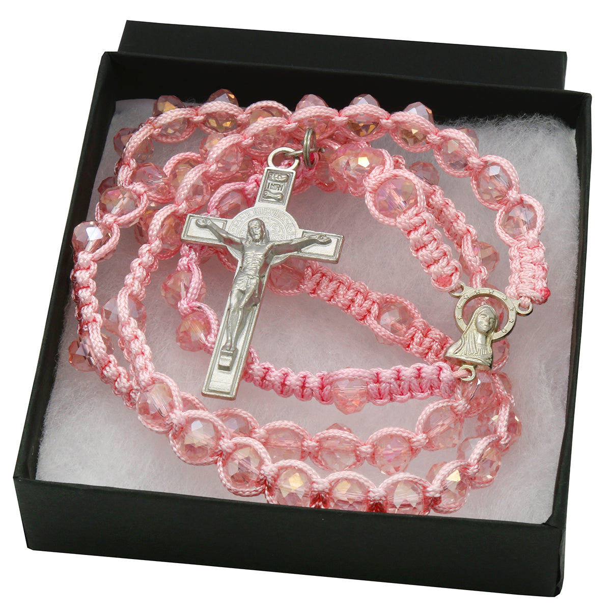 8MM Rose Crystal Fabric Rosary With Cross Pendant