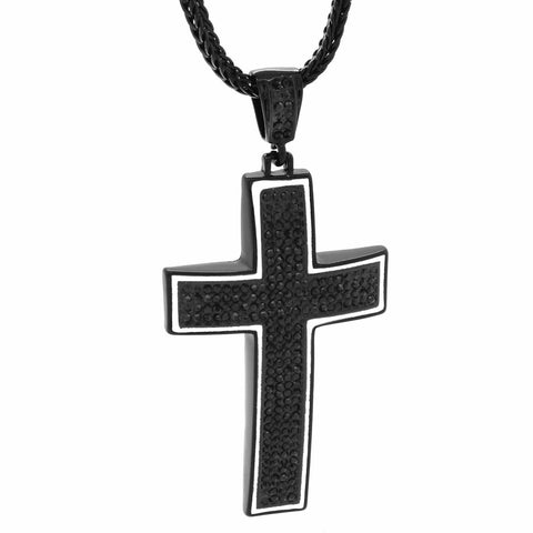 Black/White Line Dome Cross NECKLACE
