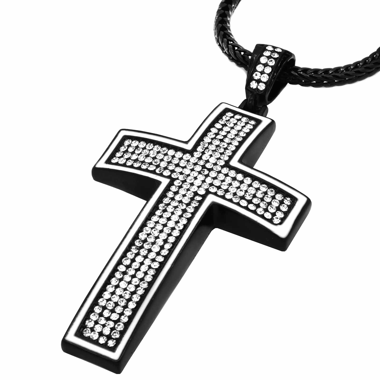 Black/White Dome Cross NECKLACE